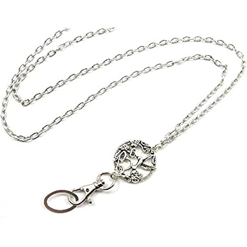 brenda elaine jewelry | real silver plate | women's fashion lanyard necklace for id badge holders | 32 inch strong textured silver chain with antique silver hummingbird pendant & no rear clasp - 41wEpaKxydL - Brenda Elaine Jewelry | Real Silver Plate | Women's Fashion Lanyard Necklace for ID Badge Holders | 32 Inch Strong Textured Silver Chain with Antique Silver Hummingbird Pendant & No Rear Clasp