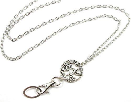 Brenda Elaine Jewelry | Real Silver Plate | Women's Fashion Lanyard Necklace for ID Badge Holders | 32 Inch Strong Textured Silver Chain with Antique Silver Hummingbird Pendant & No ()