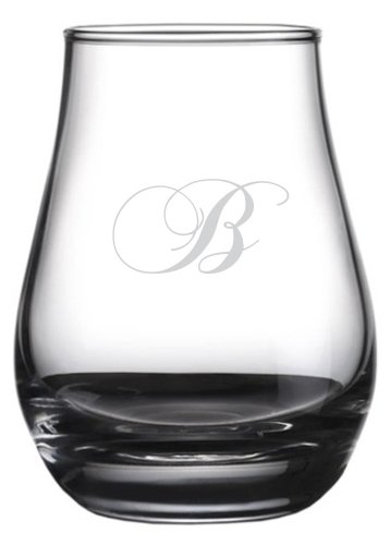 - Chopin Script Etched Monogram Spey Dram Whisky Tasting Glass (Letter B)
