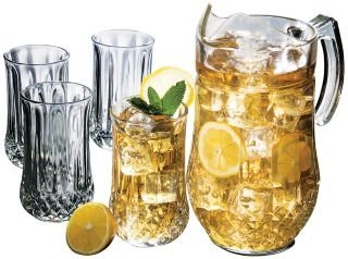 Gibson Jewelite 5 Piece Glass PItcher Set