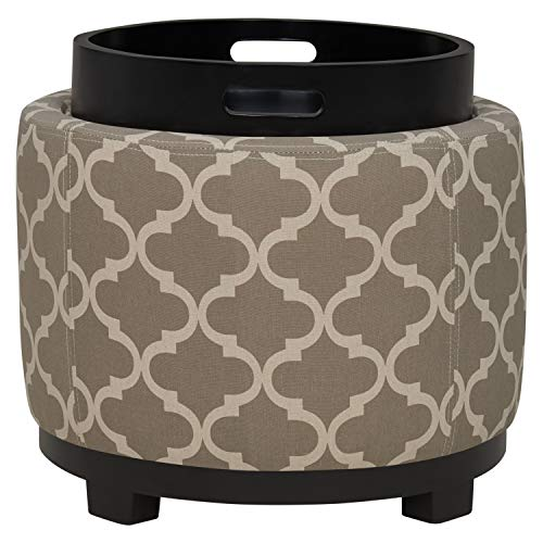 Ravenna Home Morrocan Storage Ottoman with Tray - 19 Inch, Grey and Cream - 3