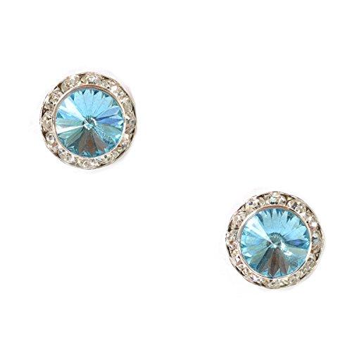 Silver Plating Element Aquamarine Rhinestone 15Mm Rondelle Circle Round Shape Stud Earring -