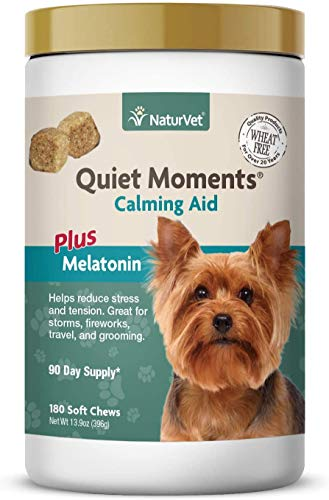NaturVet Quiet Moments Calming Aid Dog Supplement, Helps Promote Relaxation, Reduce Stress, Storm Anxiety, Motion Sickness for Dogs