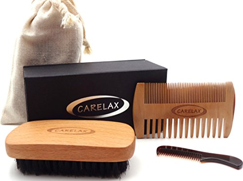 Beard Brush and Comb Set for Men – Handmade Mustache Comb and Boar Bristle Hair Brush for Facial Hair Care – Gift Box & Cotton Pouch- Energetic Softness to Your Beard