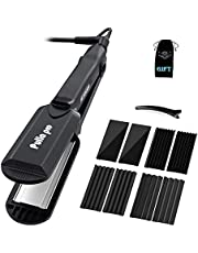 Pulla Hair Straightener and Crimper - 4 in 1 Tourmaline Ceramic Flat and Curling Iron for Hair Styling with Adjustable Temperature - Salon High Heat 320°F - 430°F for All Hair Types