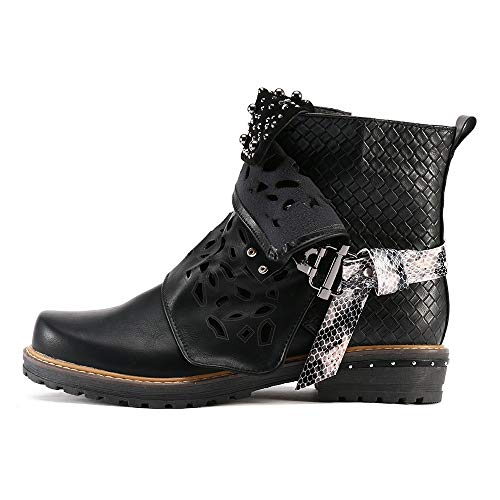HYIRI Originals Leather Buckle Hollow-Out Boots,Women Pearl Oxford Boot Side Zipper Cowgirl Boot Black (Best Lakes To Kayak In Wisconsin)