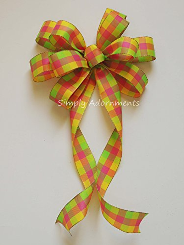 Places Springs Coral (Coral Lime yellow Check Gingham Bow Yellow Pink Lime Spring Check Wreath Bow Spring Plaid Door Hanger Bow Orange Yellow Green Plaid Monogram Decor Lime Coral Baby Shower, Birthday Party Decorations)