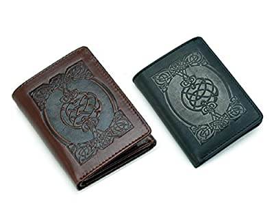 Biddy Murphy Irish Leather Wallet Celtic Design Tri-Fold Made in Ireland