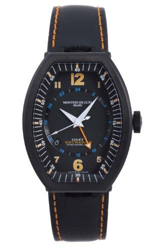 Montres De Luxe Men's EXN 9502 Estremo Black Titanium and Aluminum Luminous Leather Date Watch