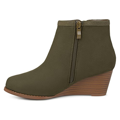 Journee Collection Womens Two-tone Wedge Booties Olive 9fq02o