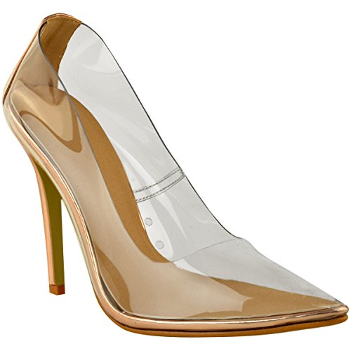 Court Gold Toe Heels Shoes Patent Clear Size Rose High Fashion Perspex Pumps Thirsty Womens Pointed Stiletto YaSqA