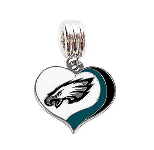 Philadelphia Eagles Charm - Heavens Jewelry Philadelphia Eagles Football Team Charm Slide Pendant Necklace European Charm Bracelet (Fits Most Name Brands) DIY ETC