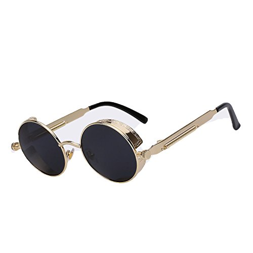 Gothic Sunglasses Men Steampunk Round Metal Frame Eyewear UV400,C1 Gold w ()