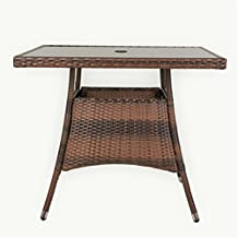 """LUCKUP 36"""" x 36"""" Patio Outdoor Wicker Rattan Dining Table Tempered Glass Top Umbrella Stand Square Table,Brown"""
