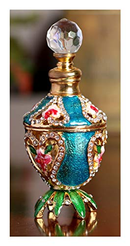 YU FENG Decorative Refillable Glass Perfume Bottle w/Fancy Retro Design - Vintage Perfume Bottle Empty w/Crystal Ball Top