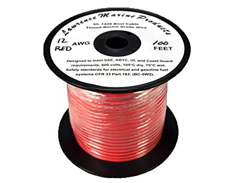 12 AWG Tinned Marine Primary Wire, Red, 100 Feet by Lawrence Marine Products (Image #1)