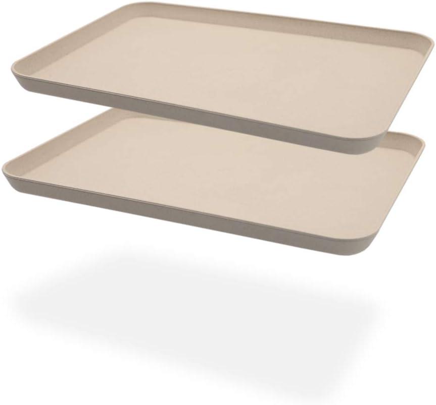 2Pcs Unbreakable Serving Tray Decorative Tray Wheat Straw, Great for Dinner Tray Tea Tray Bed Tray Bar Tray Breakfast Tray Food Tray, (Beige)