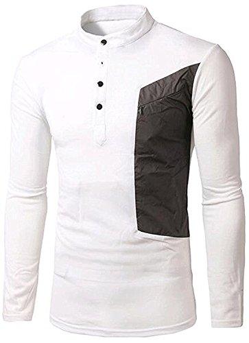 Bikinmoon Trendy Mens Stand Collar Button Design Color Blocked Long Sleeve WhiteUS Large