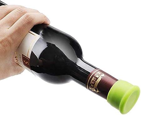 YIQI Tapones para Botellas, Tapones de Vino Silicona, Tapa de Botella de Vino Reutilizables para Botellas de Vino y Cerveza - 6 Piezas, Color Aleatorio