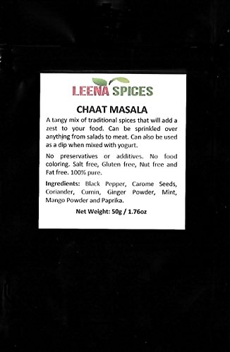 LEENA SPICES – Chaat Masala Powder Spice – Gluten Free Blend - Delicious Tangy Taste – Chat Seasoning For Salads, Fruit, Pani Puri And Papdi Papri – Enjoy Pure Quality Products