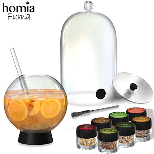 Smoking Gun Accessory Set, 11 PCS, Food Smoke Infuser Accessories - Plastic Disk Lid and Cocktail Ball Glass with Straw for Drink Smoker, Plastic Dome for Cold Smoke, Plastic Smoking Cloche for Drinks, 7 Flavors Wood Chips