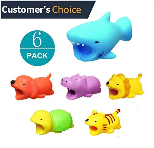 Pack 6 - iPhone Accessories Animal Bite Cable Protector, Cord Charger Protector, Cable Chompers, Shark Hippo Lion Tiger Dog Turtle Cable Saver ONLY for iPhone iPad Data Line by AnnyStore