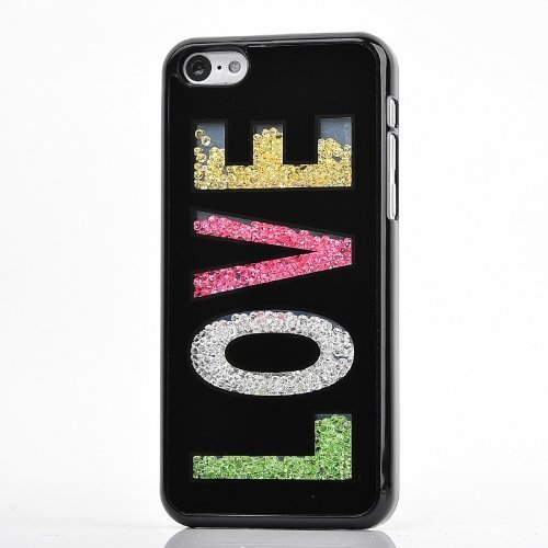 iPhone 5 Case,Nice Green (TM) Deluxe Hard Bling Colorful Moving Diamond Rhinestone Shell Durable Crystal Back Case Cover for Apple iPhone 5 5S 5G (Black Love)
