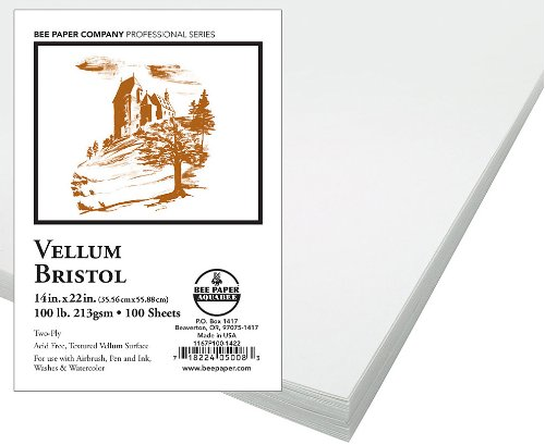Bee Paper Vellum Bristol Pack, 14-Inch by 22-Inch, 100 Sheets per Pack