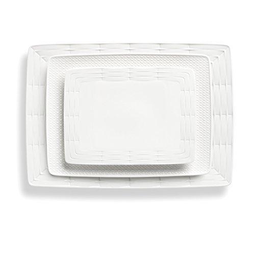 (Lenox 3-Piece Entertain 365 Mixed Sculpture Platter Set, White)