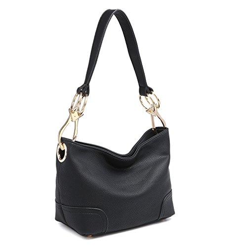 Tote Medium Hobo (Classic Women Hobo Shoulder Bag Ladies Tote Purses Top Handle Handbag Faux Vegan Leather Black)