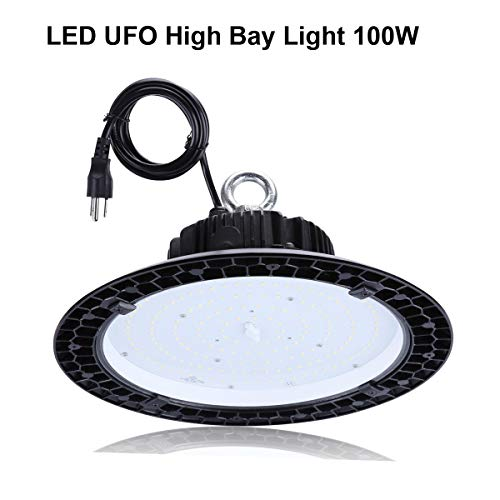 UFO LED High Bay Light,100W (400W HID/HPS Replacement) AC 100-277V,13000LM,5000K Daylight White, IP65 Waterproof Commercial Grade Area Warehouse Workshop Hanging Lighting Fixtures