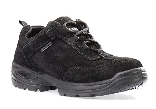 Men Athletic Style Safety Shoes with Steel Toe | Light Duty, Anti-Static, Shock Absorbent Work Shoe | Slip Resistant & Breathable & Comfortable Construction Footwear with Moisture Wicking Lining - Black Leather Safety Shoe