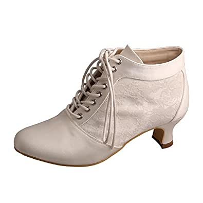 Wedopus MW188 Women's Round Toe Lace-up Boots Block Mid Heel Lace Satin Wedding Bridal Pumps Shoes White Size: 11