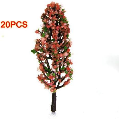 Dcolor 3,3 Zoll Gruen Zug Set Scenery Landschaftsmodell Baum mit Pfirsich Blumen Massstab 1/200, 20 Stk.