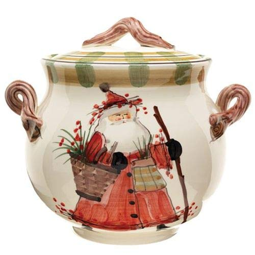 Vietri Old St. Nick Biscotti Jar Replacement Lid, Ceramic Urn Cover