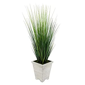House of Silk Flowers Artificial 4ft PVC Grass in Washed Wood Planter (White-Washed) 2
