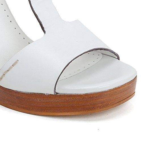 ALESYA by Scarpe&Scarpe - Sandalias altas con T-bar y sin costuras, de Piel, con Tacones 11 cm Blanco