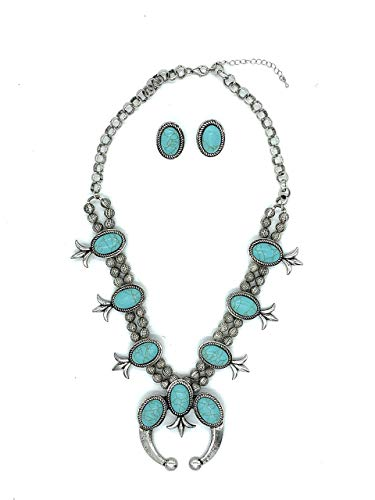 (Jayde N' Grey Turquoise Squash Blossom Navajo Bohemian Womens Southwestern Statement Choker Necklace & Earrings Bundle: Set & Jewelry Bag (Turq 3 Stone Squash))