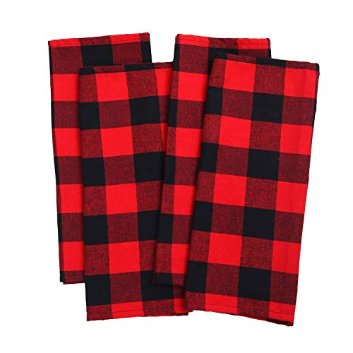 (Aneco 4 Pack Check Plaid Dish Towels Oversized 18 x 28 inches Cotton Kitchen Dish Towels Fast Drying Cotton Tea Towels for for Drying Cleaning Cooking Baking - Red and Black)