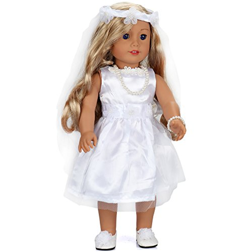 (18 Inch Doll Clothes Wedding Dress White Communion Dress with Veil and Necklace for American Girl Dolls  by ANNTOY)