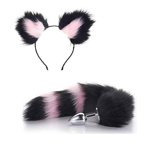 Black Pink Cat Ears Headband Fox Tail Cosplay Party Costume ()