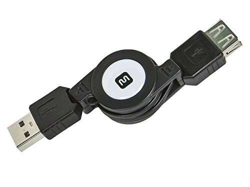 Monoprice 2.5' USB 2.0 Retractable Cable - A Male to A Female (Retractable Single)