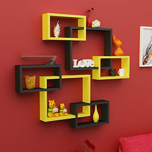 Onlineshoppee Intersecting Wooden Wall Shelves Set of 6   Yellow   Black