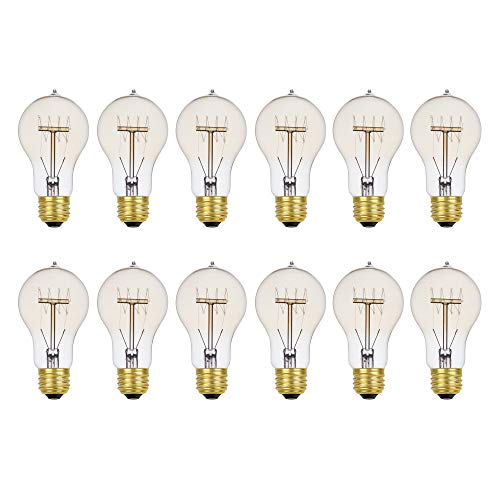 Globe Electric 34841 60W Vintage Edison A19 Quad Loop Incandescent Filament Light Bulb 12-Pack, E26 Base, 245 Lumens, Dimmable, Clear, Piece