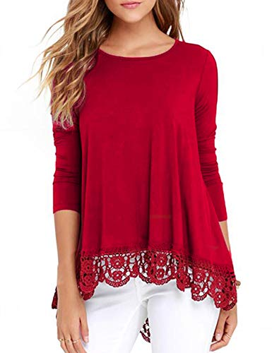 RAGEMALL Women's Tops Long Sleeve Lace Trim O-Neck A-Line Tunic Blouse Tops for Women Red M