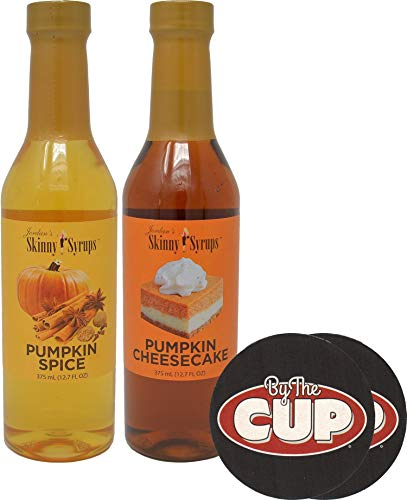 Jordan's Skinny Syrups Sugar Free Pumpkin Cheesecake and Pumpkin Spice Coffee Syrups 375 mL Bottles with By The Cup Coasters (Best Pumpkin Spice Syrup)