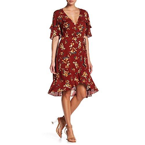 - Pink Spider Womens Floral Print Wrap Dress Burnt Orange Small