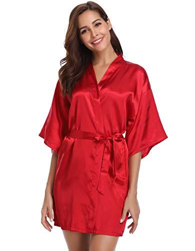 (Vlazom Women's Kimono Robes Short Satin Pure Color Bridal Party Robe with Oblique V-Neck Wine)