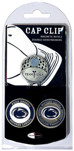 Team Golf NCAA Penn State Nittany Lions Golf Cap Clip with 2 Removable Double-Sided Enamel Magnetic Ball Markers, Attaches Easily to Hats