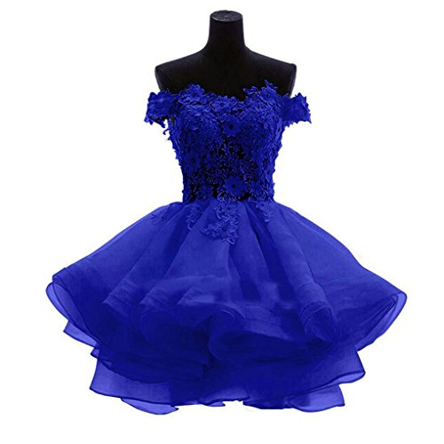 (LeoGirl Womens Off Shoulder Floral Appliques Short Prom Dresses Juniors Homecoming Sweet 16 Party Ball Gown (2, Royal)